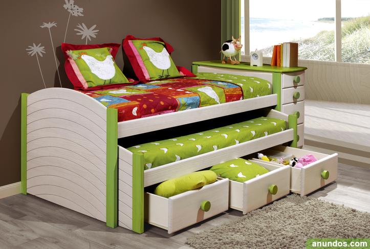 Oferta compacto dos camas y tres cajones madera maciza - Dos camas en una ...