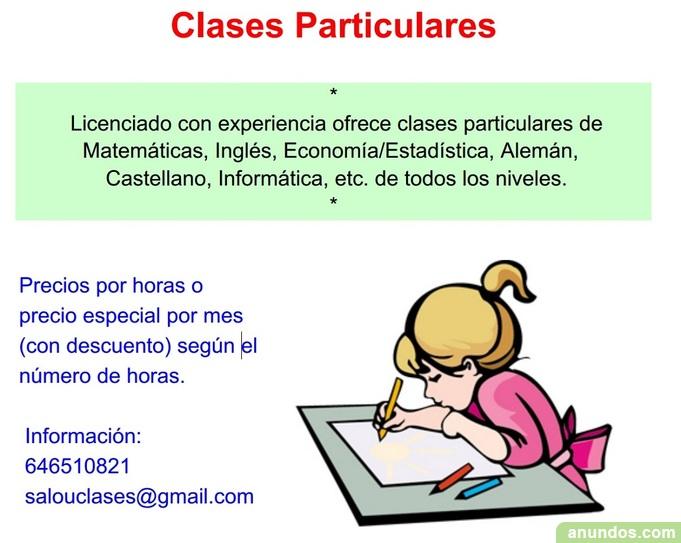 CLASES PARTICULARES EN SALOU Y CAMBRILS Repasos, apoyo escolar