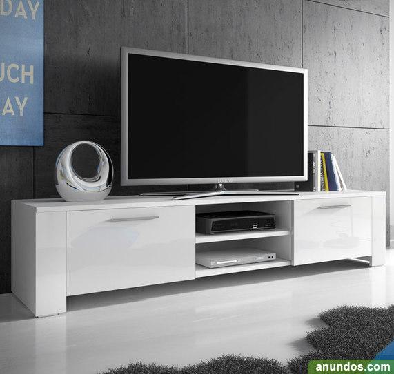 Mueble tv modelo cordoba en color blanco con negro for Mueble tv negro