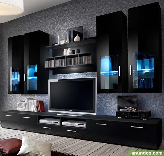 Mueble de sal n modelo acosta negro 3 m madrid ciudad for Muebles de salon madrid