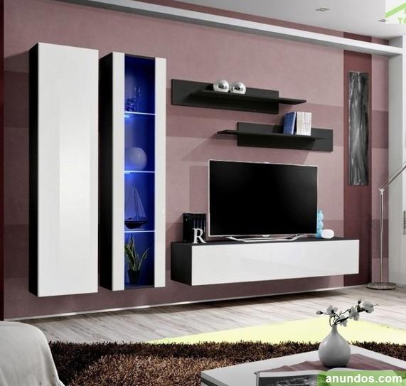 Mueble tv modelo forli xl negro y blanco madrid ciudad for Mueble tv negro