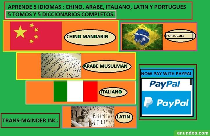 Aprenda 5 idiomas : portugues, arabe, latin , italiano y chino +