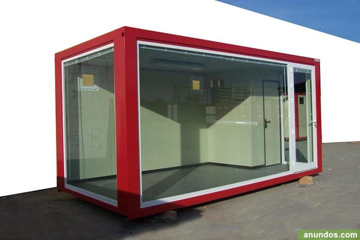 Caseta modular con la estructura pintada de color rojo