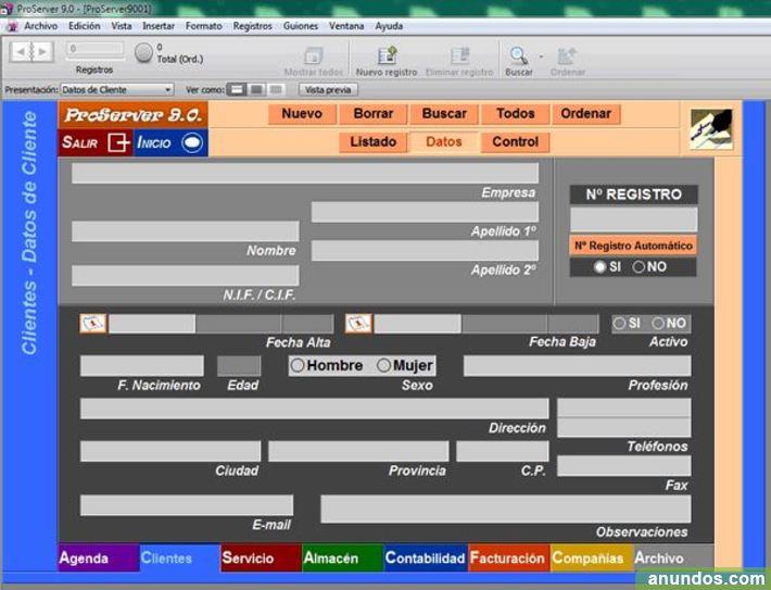 Programa Gestión Profesionales Autónomos Servicios ProSever 9.0