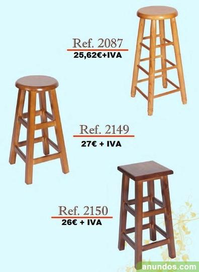 Taburetes altos fabricados en madera, aluminio o polipropileno